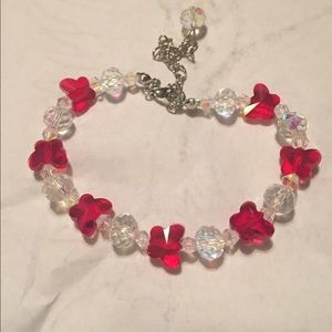 Red and clear crystal bracelet